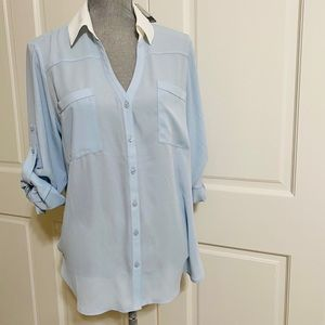 Express Blue & White Button Up